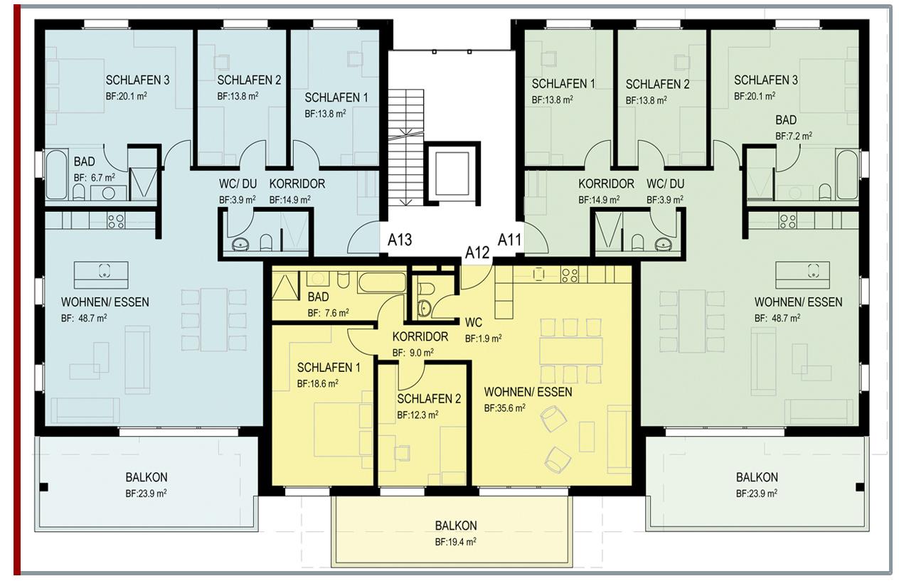 4 1 2 zimmer wohnung ziegelfeld mietwohnungen. Black Bedroom Furniture Sets. Home Design Ideas